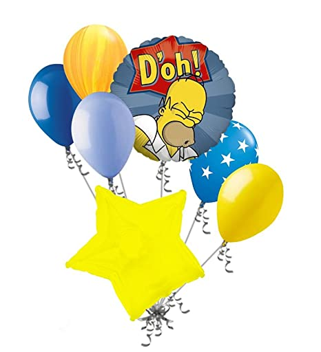 7 Pc Homer Simpson D Oh Balloon Bouquet Cartoon Theme