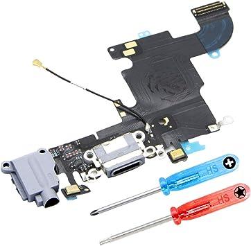 MMOBIEL Conector Dock de Carga Compatible con iPhone 6S (Negro/Gris Espacial) de Repuesto Puerto USB, Cable Flex, Micrófono, Audiojack, Antena y botón ...