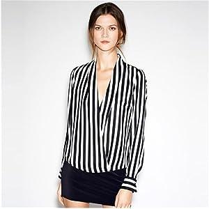 Blouse,NOMENI Women Career Business Deep V-neck Long Sleeve Shirt Loose Blouse Tops (M)