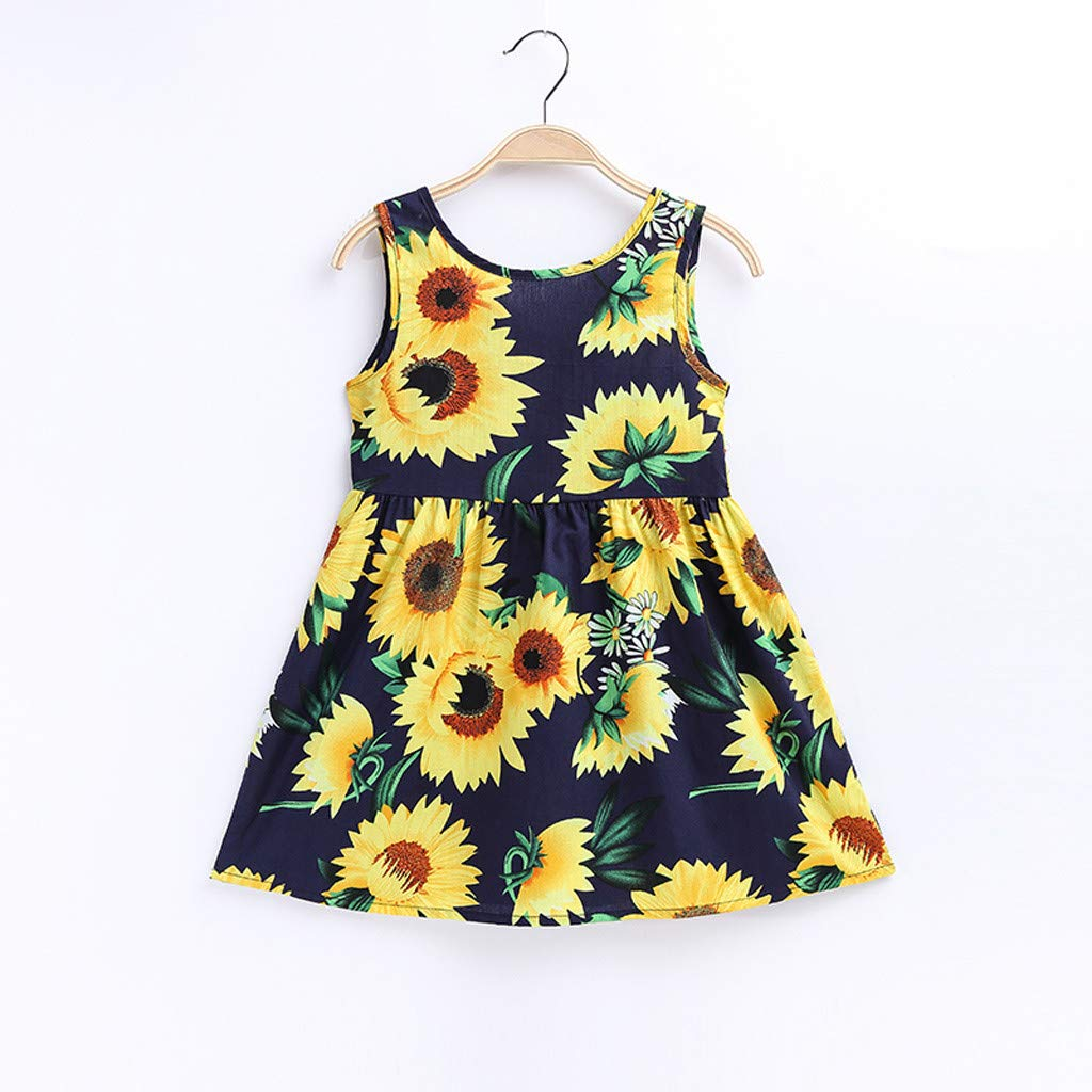 Fabal Toddler Baby Kids Girls Sleeveless Sunflowers Skirt Princess Dresses Clothes Navy