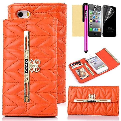 - OkSoBuy® Apple iphone4 4S case,PU Leather Wallet Magnet Glitter bowknot Diamond rhinestone Diamond line texture Wavy texture Leather Case Credit Card Holder Slots For Apple iphone 4 4S (Orange)