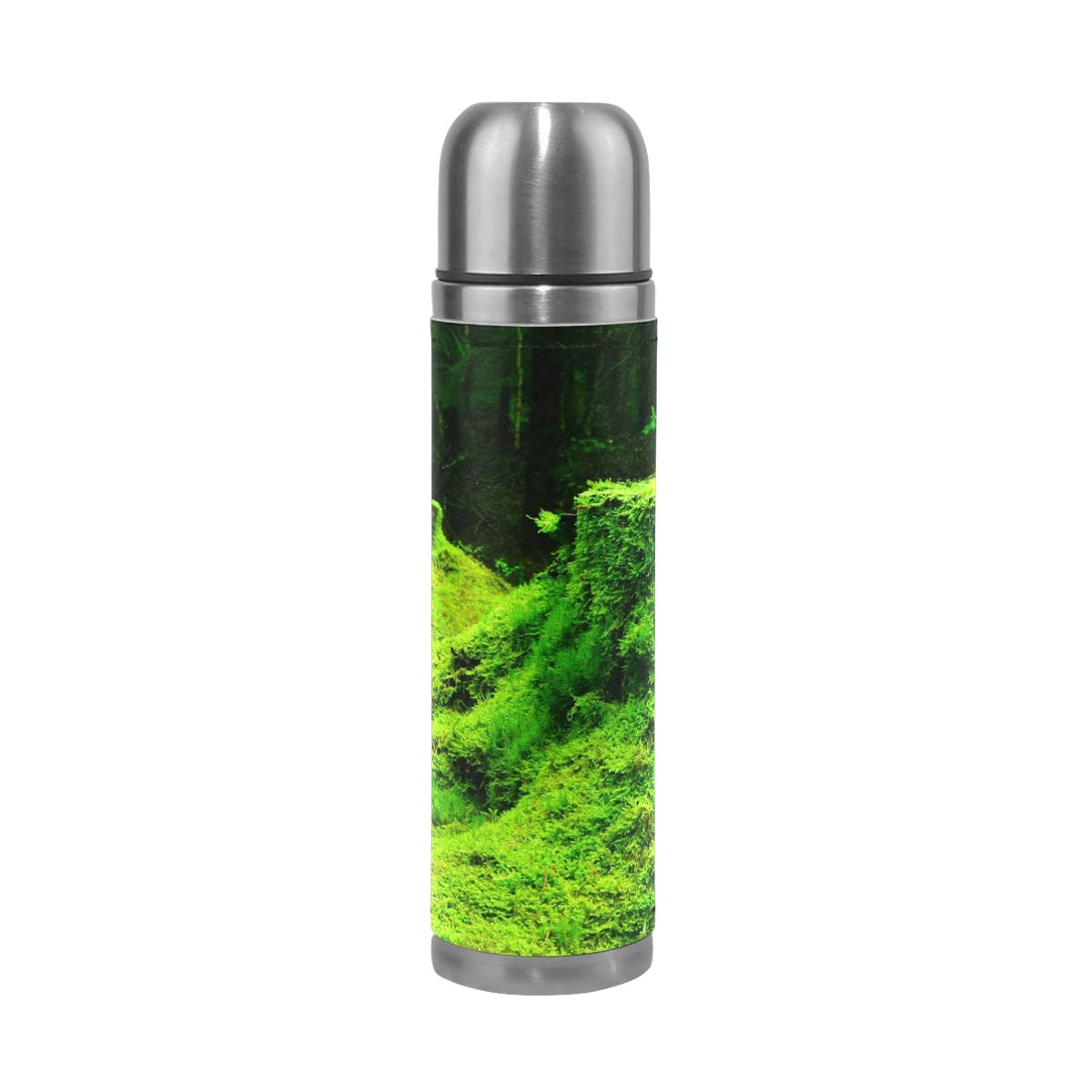 Moss Grass Stump Wood 500ML Stainless Steel Double Walled vacuum insulated water bottle Travel Mug Leather Cover Thermos 17 oz