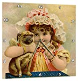 3dRose Print of Victorian Girl Holding Pug Doggie – Wall Clock, 15 by 15-Inch (dpp_212612_3)