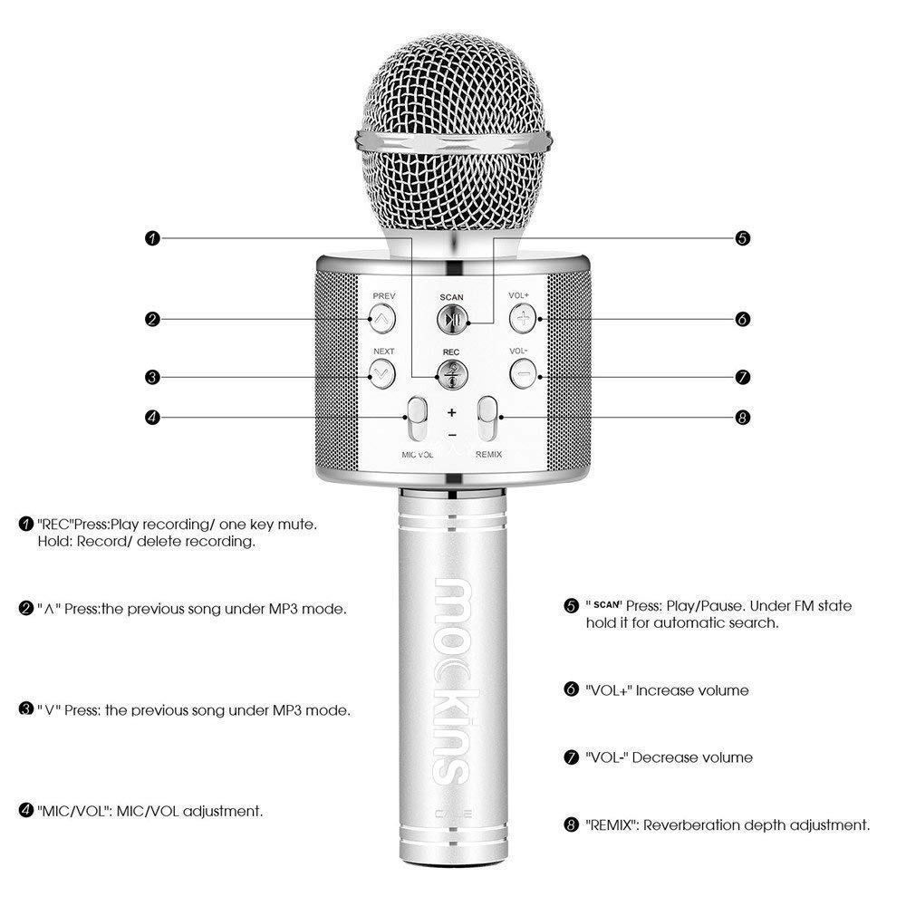 Mockins Premium Wireless Portable Handheld Bluetooth KARAOKE MICROPHONE Compatible with Android & IOS Apple - Silver ... ... ... ... ... by Mockins (Image #6)