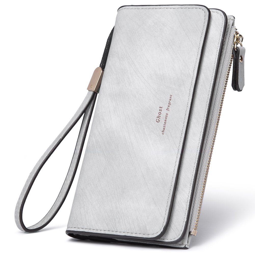 Women Wallet Wristlet PU Leather Clutch Purse Bifold Ladies Checkbook Multi Card Holder Organizer with Zipper Pocket gray