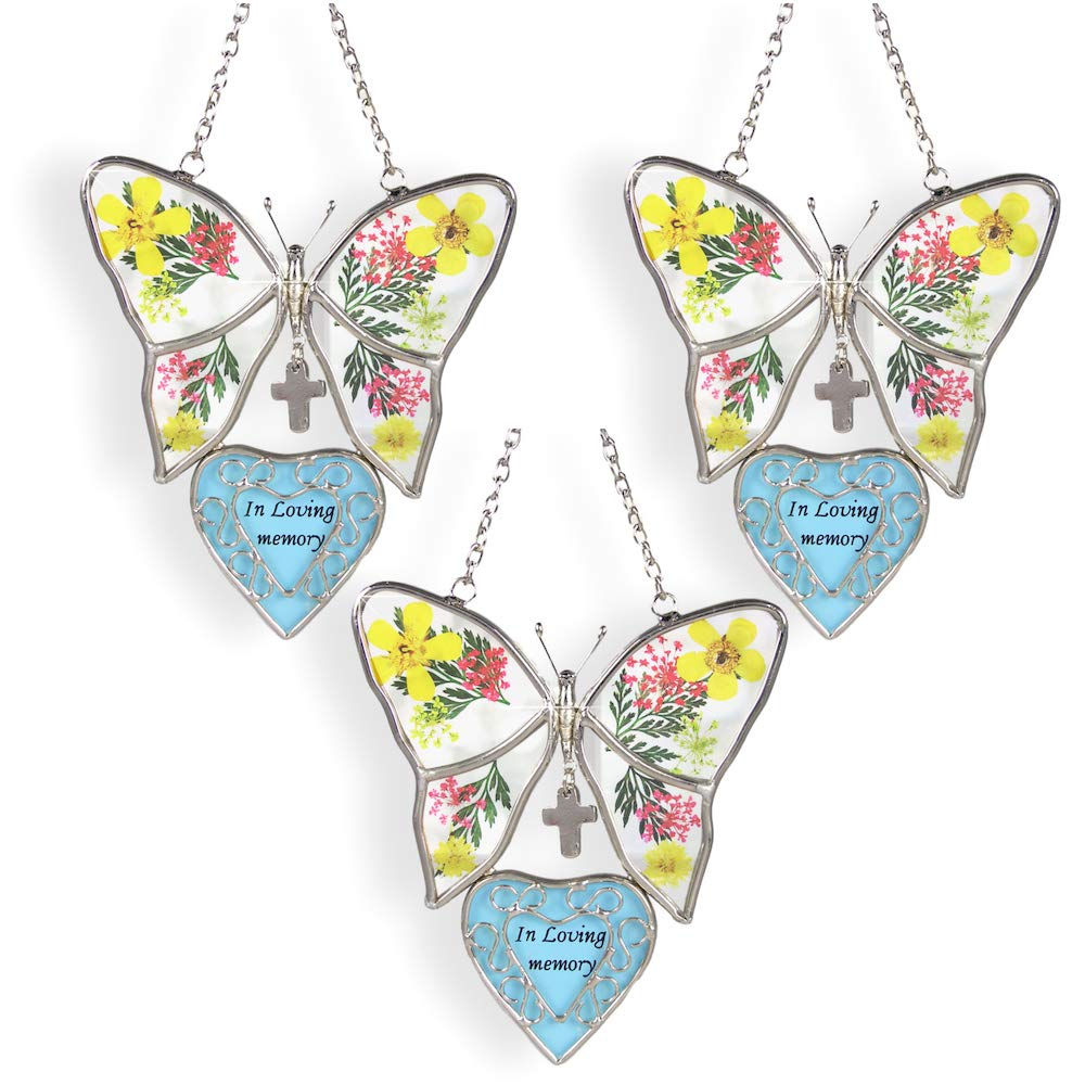 BANBERRY DESIGNS in Loving Memory Butterfly Stained Glass with Flowers Suncatcher - 3 Pack