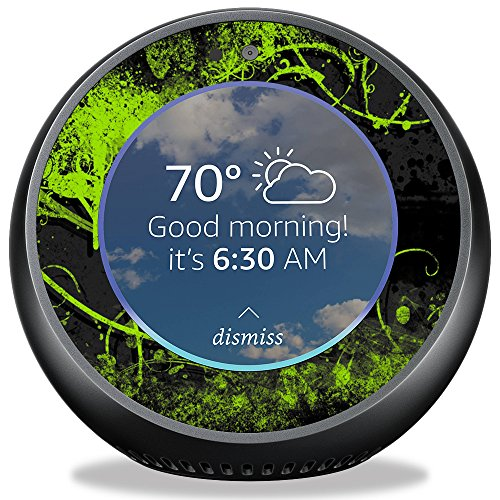 MightySkins Skin for Amazon Echo Spot - Green Distortion   Protective, Durable, and Unique Vinyl Decal wrap Cover   Easy to Apply, Remove, and Change Styles   Made in The USA