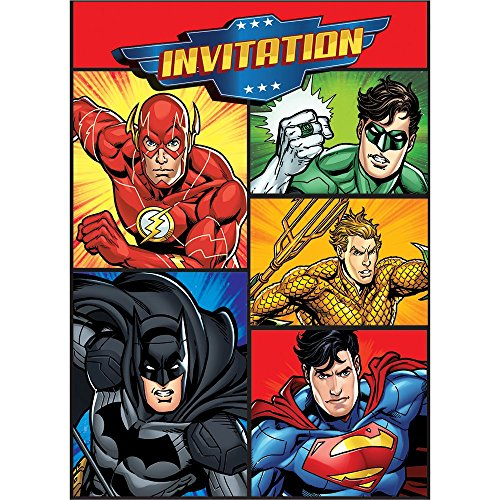 Justice League Invitations, 8ct