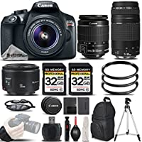 Canon EOS Rebel T6 DSLR Camera + Canon 18-55mm IS II Lens + Canon EF 75-300mm III Telephoto Lens + Canon EF 50mm 1.8 II Lens + 64GB Storage - All Original Accessories Included - International Version
