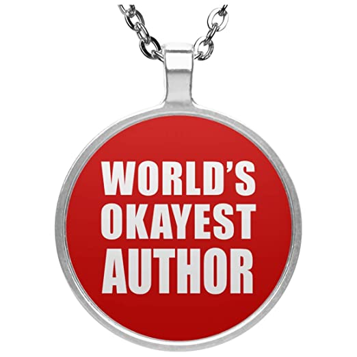 Worlds Okayest Author - Circle Necklace Red Collar, Colgante ...