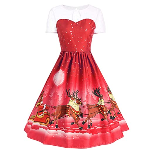 toimoth womens plus size christmas sleeveless print flared cocktail party dress with lacered b