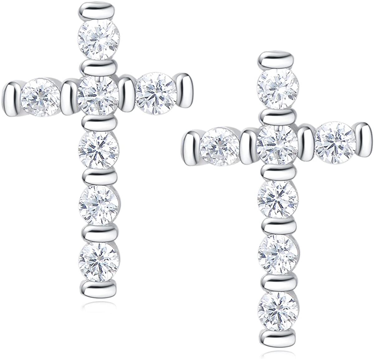 Carleen 14k Gold Plated Sterling Silver Clear CZ Cubic Zirconia Cute Dainty Petite Small Tiny Cross Stud Earrings For Women Girls Teens, Size 6mm X 10mm
