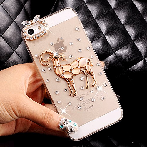 iPhone 5C Case,HAOTP(TM) 3D Handmade Bling Crystal with Shiny Sparkle Rhinestone Diamonds Design Clear Soft TPU Cover Case for iPhone 5C (Goat)