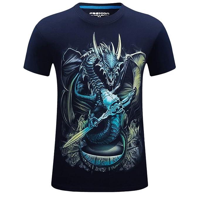 0bb85d13d640 Xinantime Taglia Forti T-Shirt da Uomo,Strane Vintage Divertenti,Manica  Corta,Stampa Animale Dragon Drago,Moda Fasion Eleganti,Maniche Corte Estate,Animal  ...