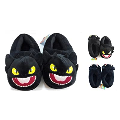 """How to Train Your Dragon Toothless Night Fury Plush Slippers 9"""" Long: Toys & Games"""