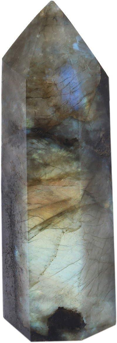 mookaitedecor Healing Crystal Wands 6 Faceted Single Point Reiki Chakra Meditation Home Decor,Labradorite