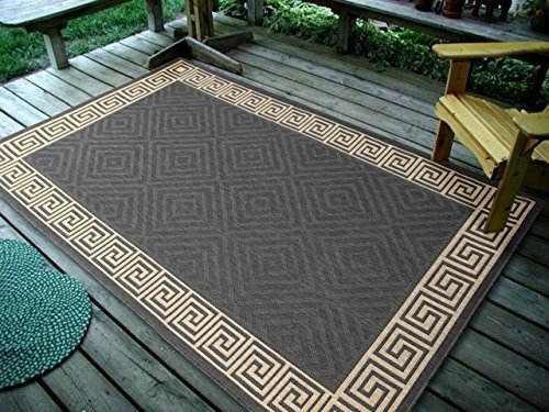 "Price comparison product image 4'5"" x7' (135x215cm) Contemporary Geometric Rug, Charcoal Indoor & Outdoor Area Rug"