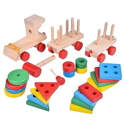 1 juego de apilamiento Juguetes de Madera Tren Shape Sorter apilar bloques Niños Puzzle Juguetes Tire juguetes para los niños en edad preescolar juguetes educativos: Juguetes y juegos