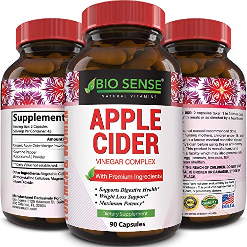 Apple Cider Vinegar Weight Loss Supplement Natural Detox Fat Burner Diet Pills Digestion Support Fast Acting Metabolism Booster Best Appetite Suppressant for Men and Women 90 Capsules (Diet Pills That Get Rid Of Belly Fat)
