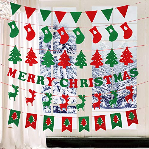 6 Pack Christmas Banners Decoration Set, Merry Christmas Banner Felt Flags Hanging Garlands for Wall Window Fireplace Mantle Church Front Door Porch Xmas Holiday New Year Party Indoor Outdoor Decor