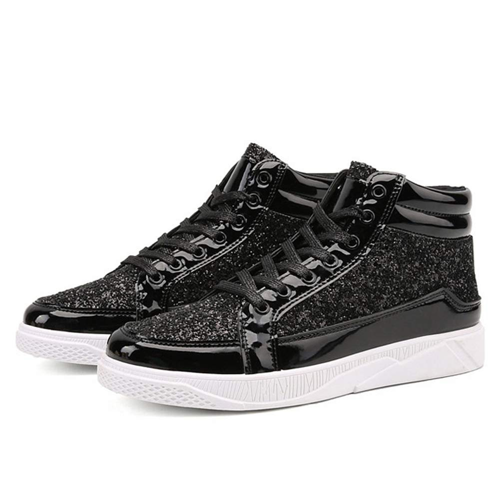 60f80765a235 Mens High-top Sneakers Fashion Sequined Ankle Boots Bling Side Zipper  Sports Shoes Young Casual Flat Dancing Street Hip Hop Shoes  Amazon.co.uk   Shoes   ...
