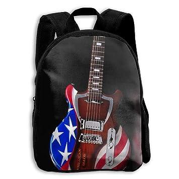 PhyShen Bandera de Estados Unidos Guitarra Eléctrica Impreso Oxford School Bag Niños Doble Cierre Cremallera Casual Bolsas de Hombro: Amazon.es: Hogar