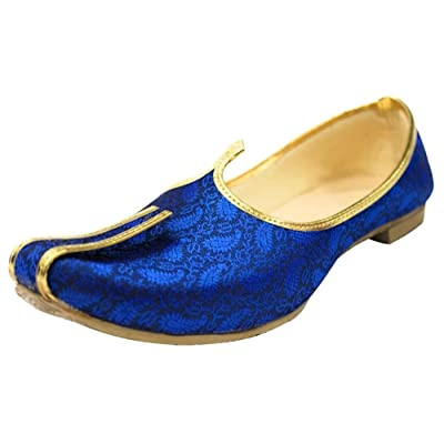 Step n Style Blue Mojari for Indian Mens Tradition Ethnic Jutti and Sherwani Shoes for Wedding | Loafers & Slip-Ons