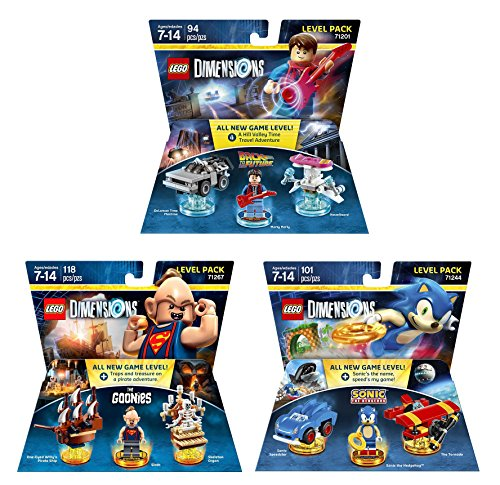 Goonies Level Pack + Sonic The Hedgehog Level Pack + Back To The Future Marty McFly Level Pack - Lego Dimensions (Non Machine Specific)