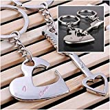 1 Pair Topnotch Popular Keychain Romantic Keyring Gift Sweet Couples Color Silver