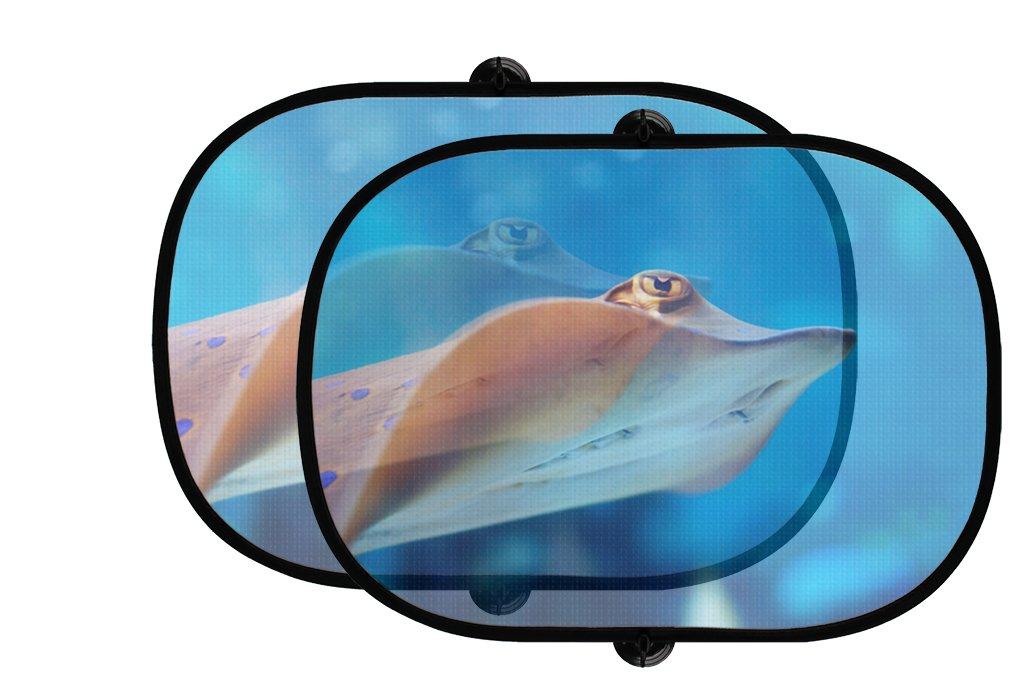 海動物2個折りたたみ式自動ウィンドウサンシェードメッシュ B0758VZVT4