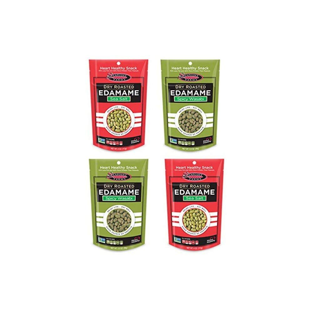 Dry Roasted Edamame Variety Pack, Wasabi & Sea Salt, 4pk (2 each flavor) by Seapoint Farms