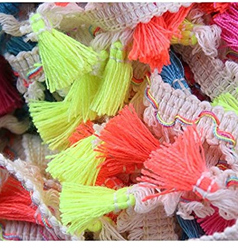 Yalulu 5 Yards Rainbow Tassel Lace Trim Cotton Fabric Ribbon Fringe Drop for Dress Skirt Extender Curtain Home Decor DIY Craft Supply White