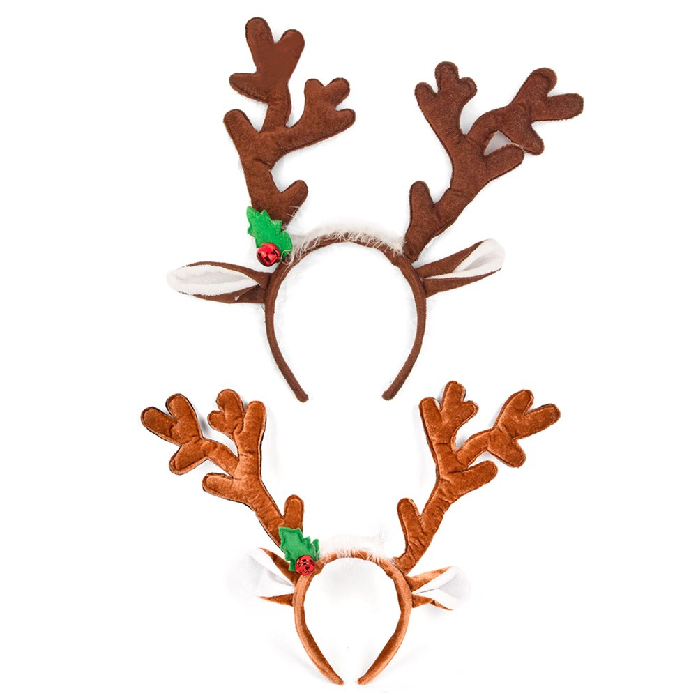 HansGo Reindeer Antlers Headband Christmas Hair Band Hat Red and Green, 2 Pack