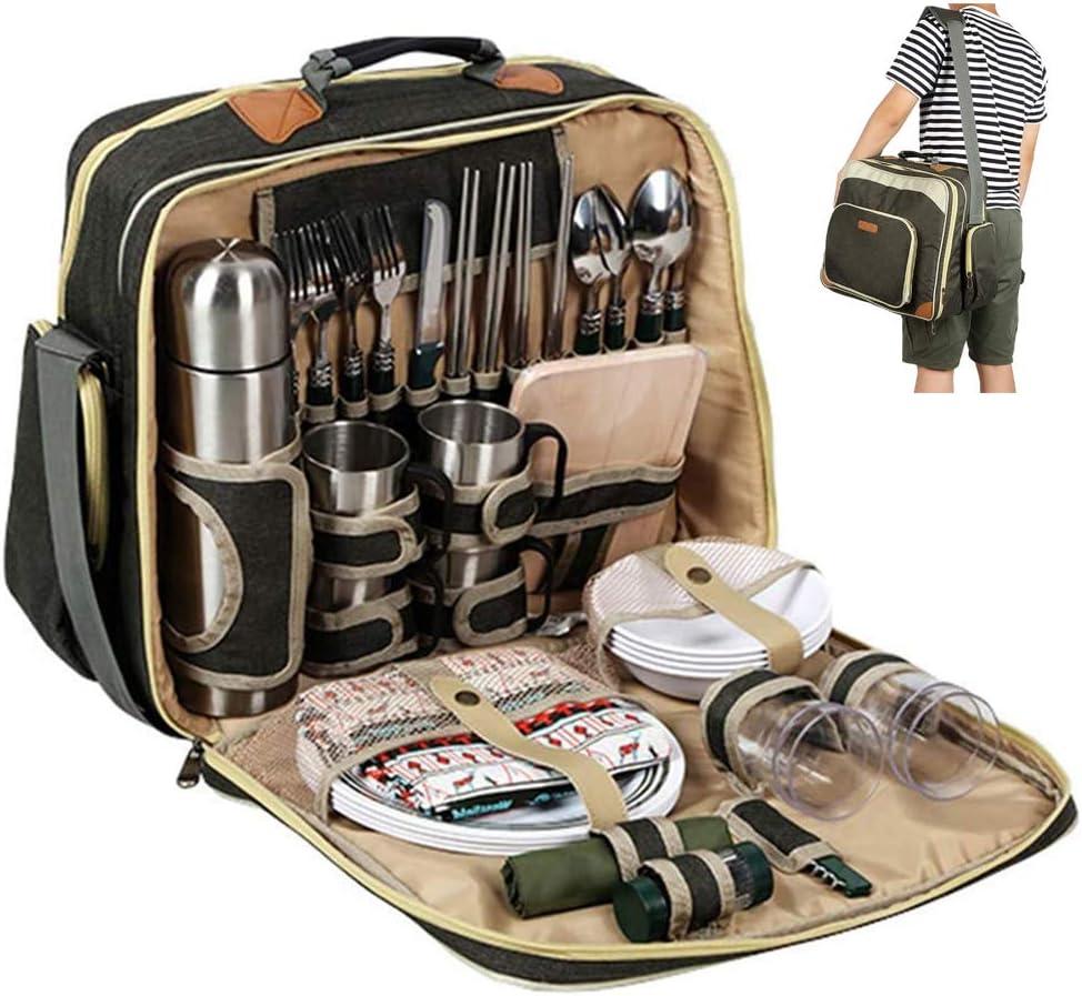 Bolsa de picnic con vajilla para 4 personas Bolsa de almuerzo aislante con correa acolchada Set de picnic con bolsa refrigeradora muchos accesorios Bolsa t/érmica para picnic y viajes