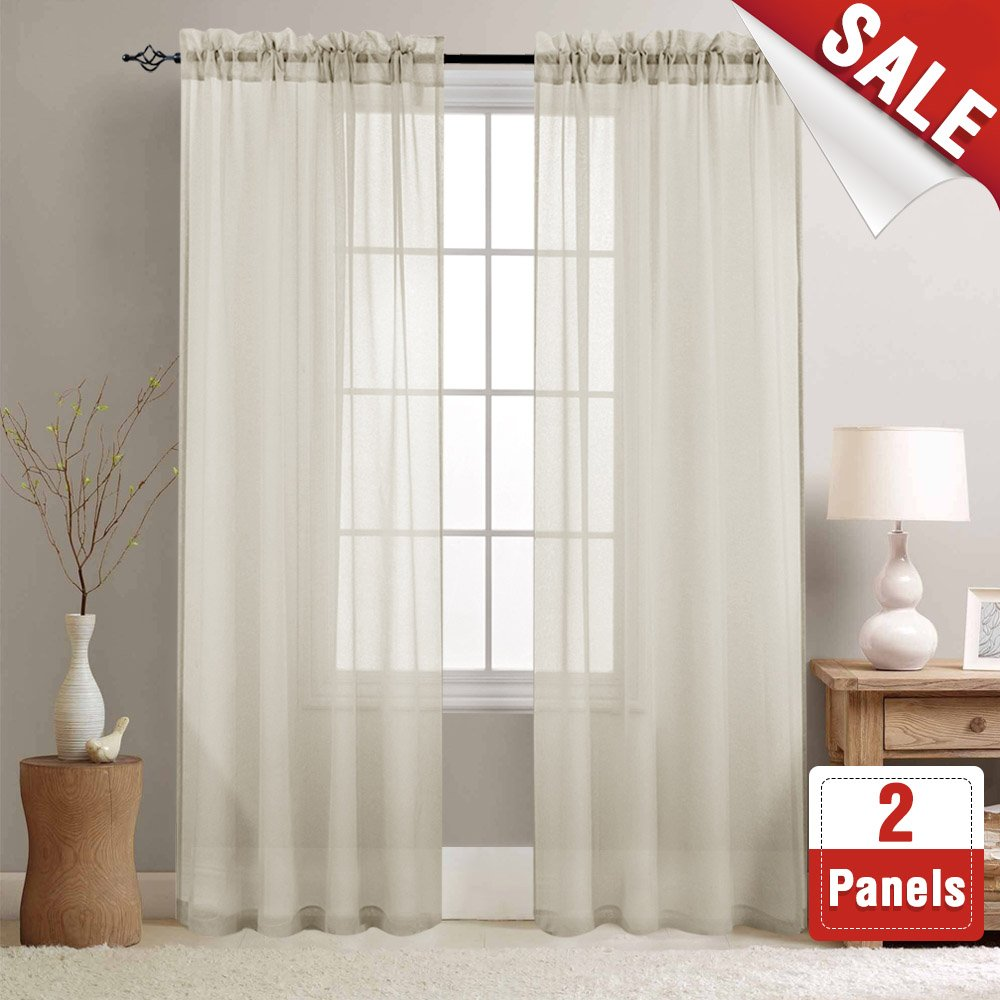Sheer Curtains for Bedroom 63 inch Length Rod Pocket Window Curtains Living Room Voile Curtain Set (2 Panels, Baby Pink) CKNY HOME FASHION JCUSRP-TLS2-5563V08