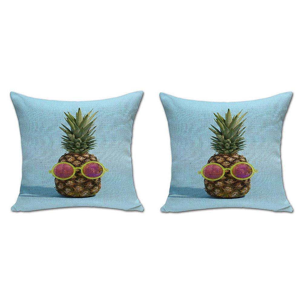 ChezMax Pineapple Stuffed Cushion 2 PCS Cotton Linen Throw Pillow Insert Square For Hotel Club Bar Decoration Decor Decorative Chair Seat Sofa
