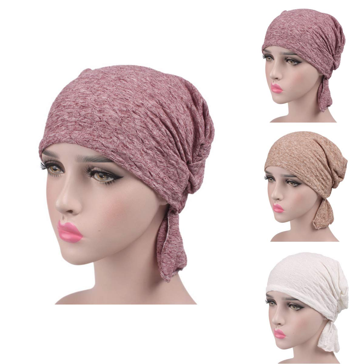 Ever Fairy 6 Colors Chemo Cancer Head Scarf Hat Cap Ethnic Cloth Print Turban Headwear Women Women's Ruffle Beanie Scarf (3 Color Pack-B)
