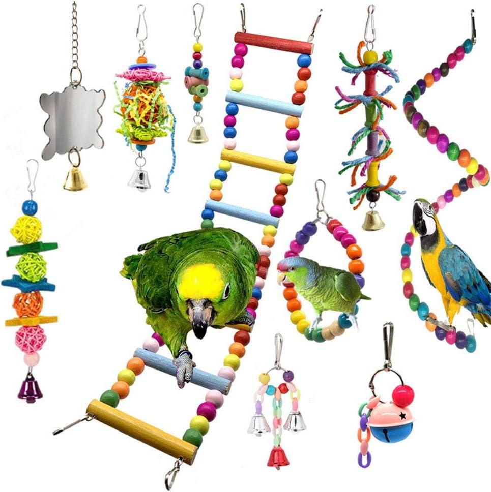 Angwis 10 juguetes de jaula para loros, pájaros, columpios, perchas, escaleras, espejos, campanas, juguetes para masticar para periquitos, pequeños loros, periquitos, cacatúas, guacamayos