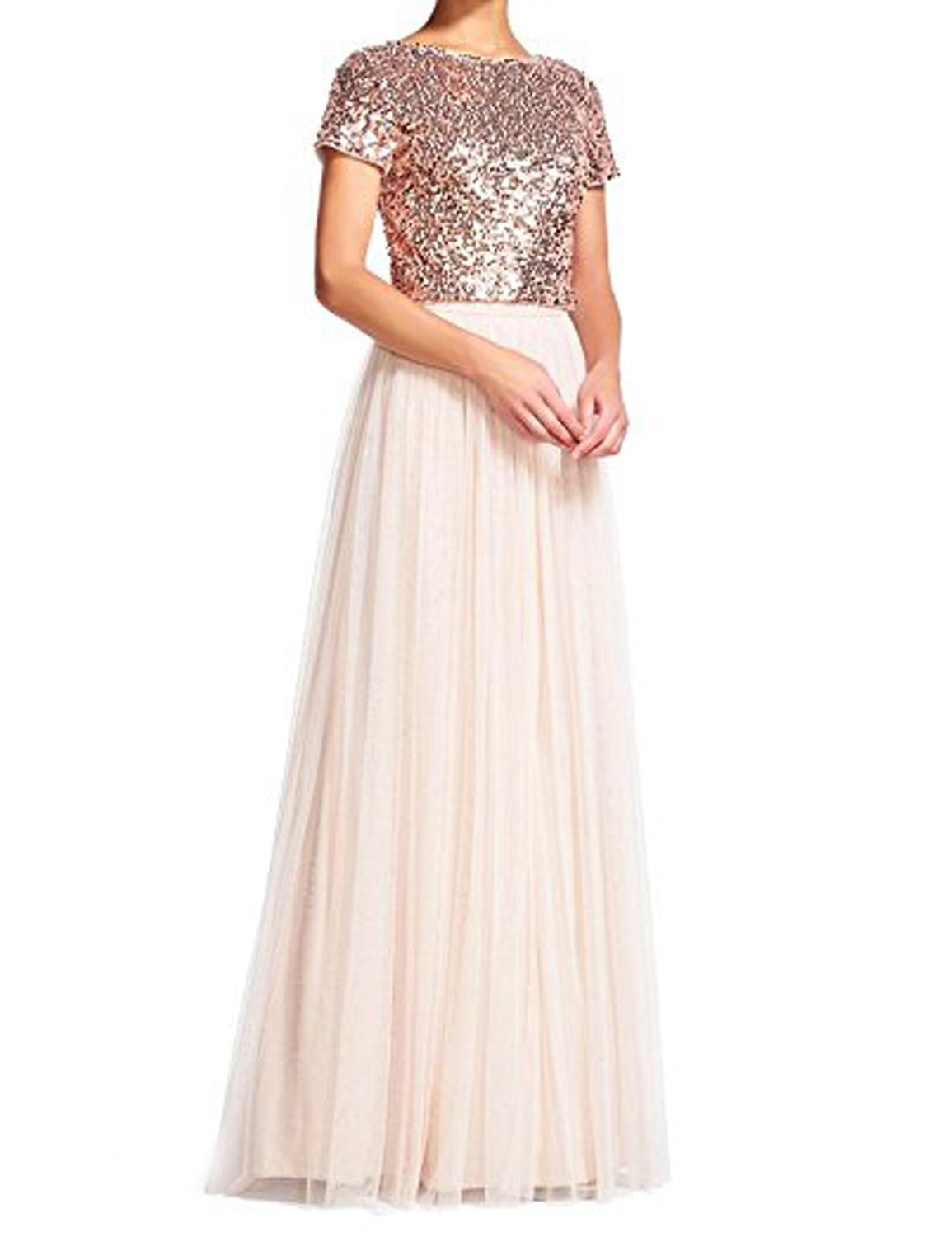 CIRCLEWLD Two Piece Prom Dress for Women Plus Size Sequins Top with Short Sleeve Maxi Skirt Tulle Rose Gold/Light Blush Size 18W