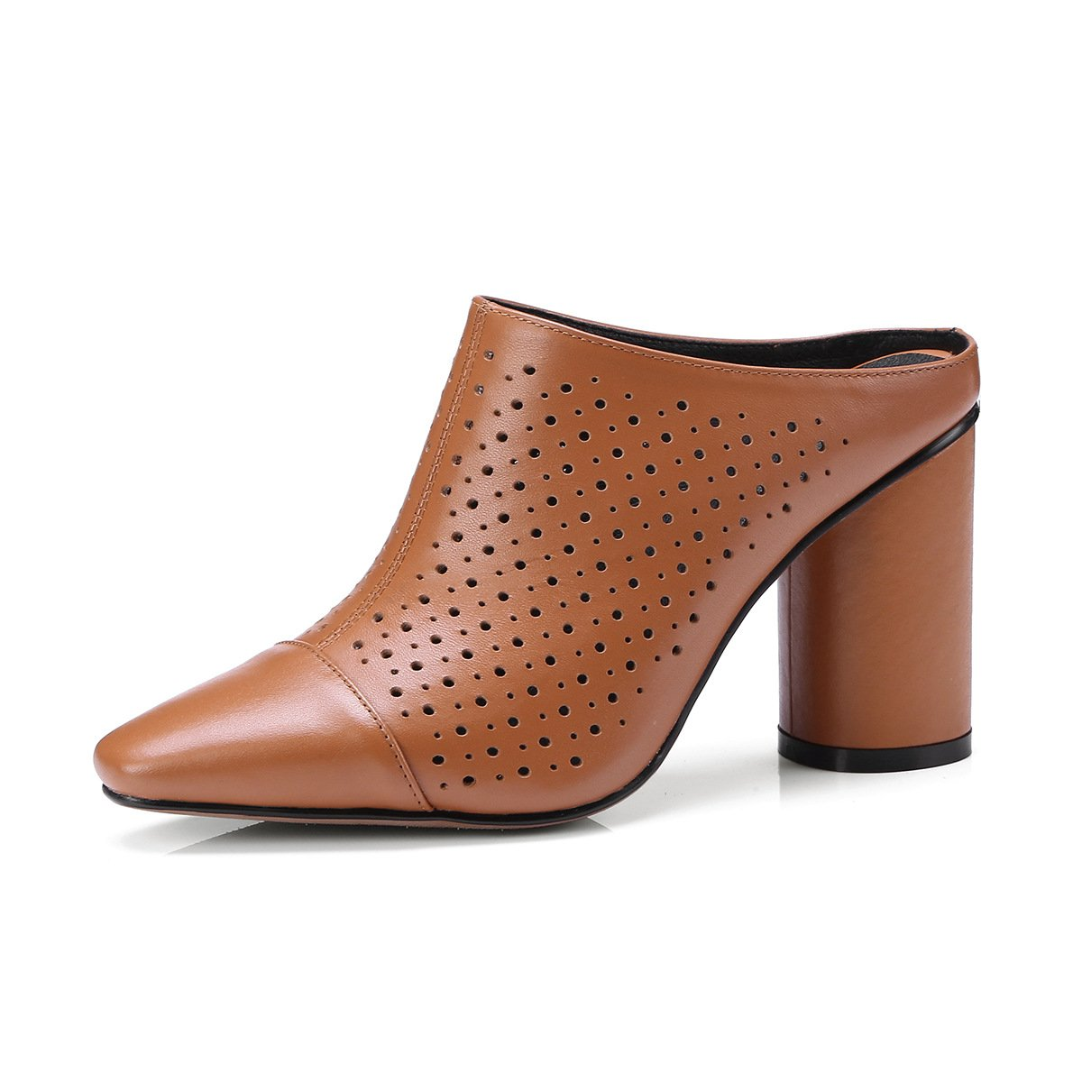 MEI&S Damen Flip Square Toe Block Heels Sandalen Flip Damen Flop Caramel d77a35