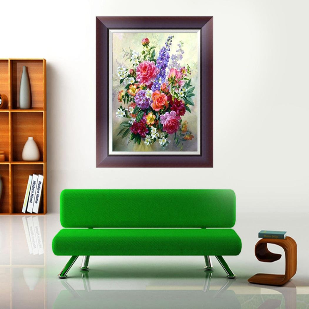 Yeefant Fresh Colorful Flower Embroidery Paintings No Fading 5D Canvas Rhinestone Pasted DIY Diamond Cross Stitch Home Wall Decor for Bedroom Living Room,12x16 Inch
