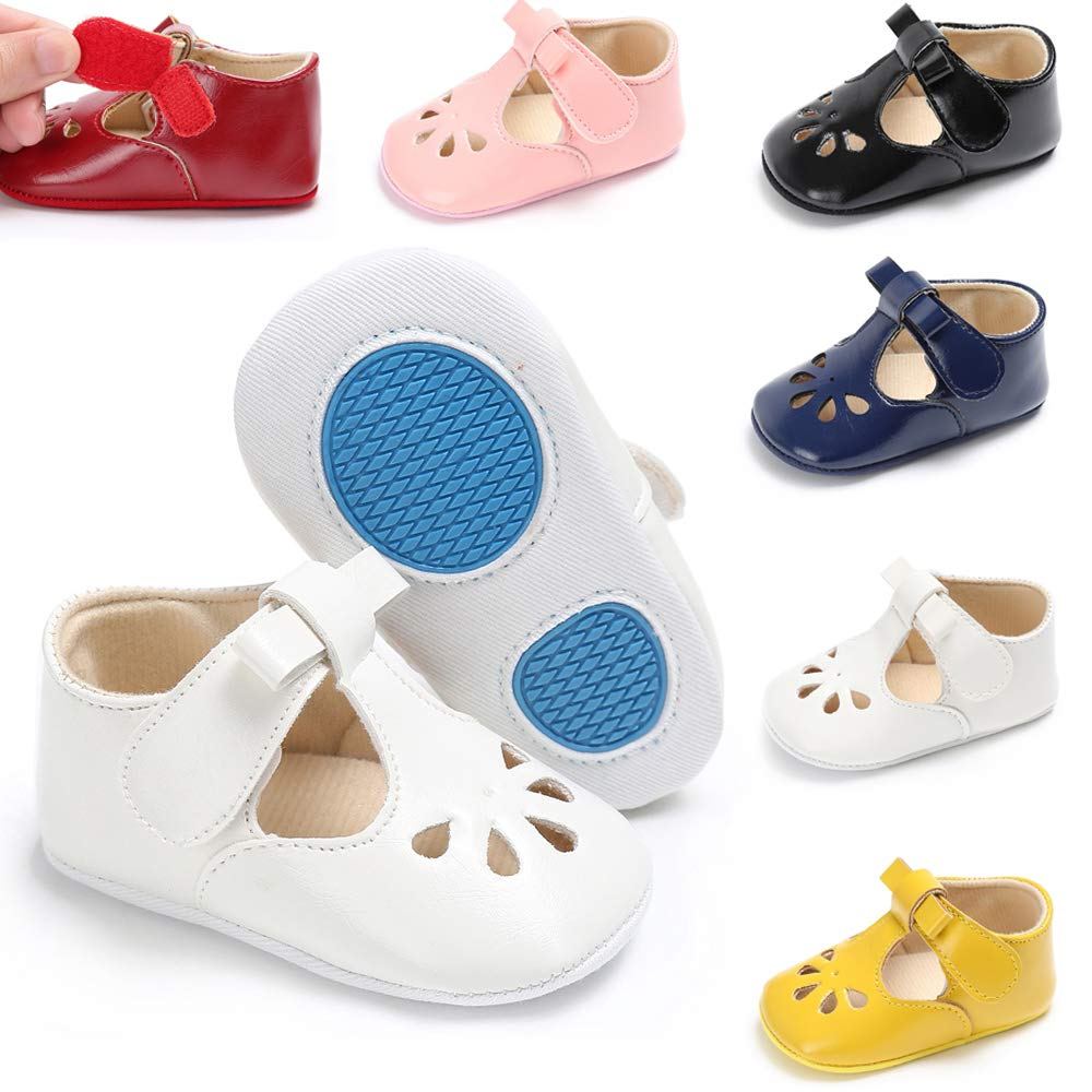 KaKaKiKi 3-18 Months Baby Girl Mary Jane Flat Infant Toddler Princess Dress Shoes Prewalker Baptism Crib Shoes