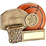 Lapal Dimension BRZ/ORANGE BASKETBALL AND NET CHUNKY FLATBACK TROPHY (1in CENTRE) - 2.75in