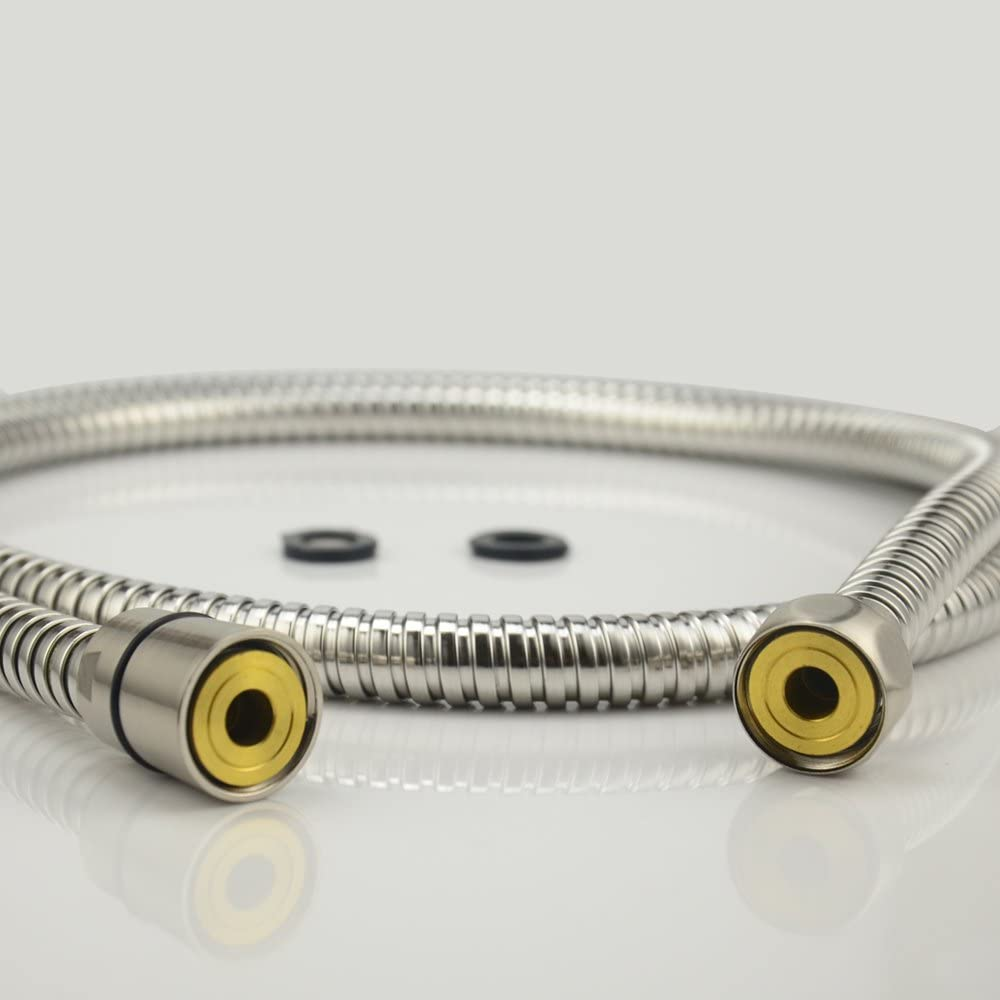 Polished Stainless Steel Finish Purelux Shower Hose 59 Inches Double lock Stainless Steel Replacement Shower Hose with Brass Fittings