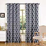 acelitor Printed Blackout Curtains-52x84-Inch,Set of 2 Panels,Grommet Top,Room Darkening,Morroccan Grey/White