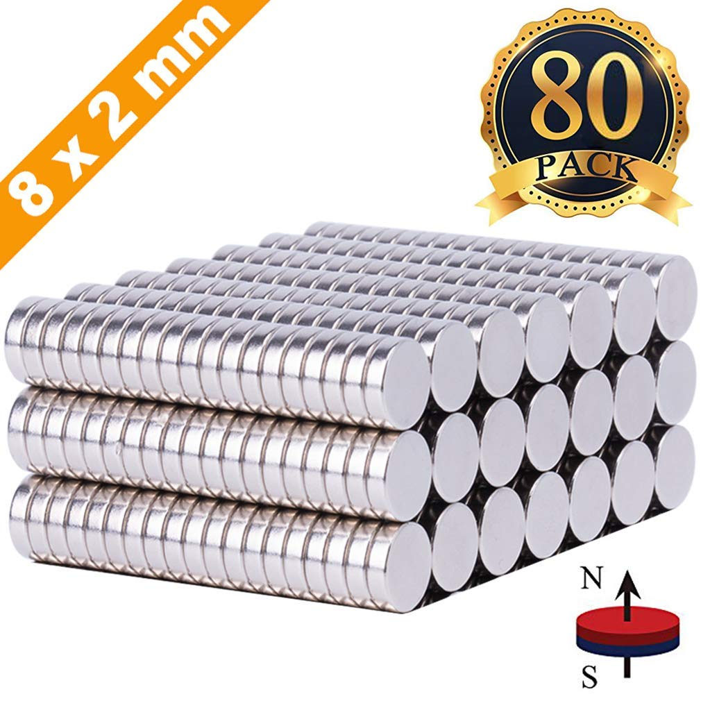FINDMAG 80Pcs 8X2mm Magnets Push Pins,Fridge office Magnets, Dry Erase Board Magnetic pins, Whiteboard Magnets,Refrigerator Magnets