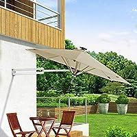 WeN-Parasols Sombrilla Sombrilla de jardín 250 cm de Pared Solar Luces LED y Poste de Metal - Ajuste de inclinación del jardín Sombrilla Sombrilla (Color : Khaki): Amazon.es: Hogar
