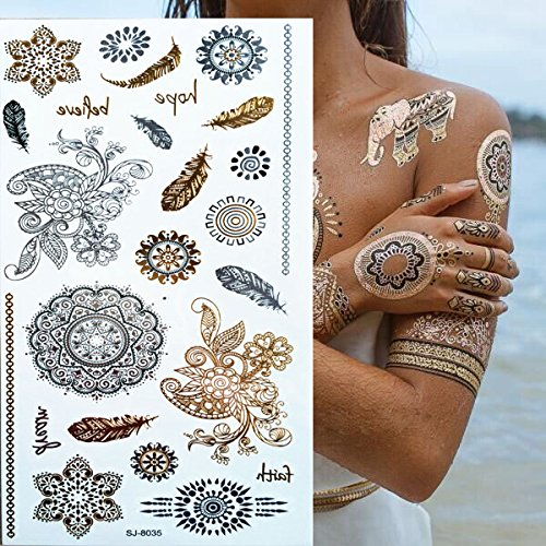 Metallic Temporary Tattoos - Style body art painting tattoo stickers glitter Metal gold silver temporary flash tattoo Disposable indians tattoos tatoo - Metallic Temporary Tattoo - Metallic Hardware