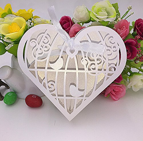 "Joinwin® Pack of 50pcs 4x4x1.3"" Laser Cut Birdcage Wedding Favor Box candy box gift box,decoration mariage,casamento,wedding favors and gifts"