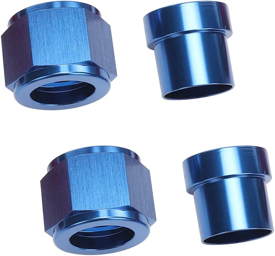 6 AN Female Tube Nut and Sleeve For 3//8 3//8 inch 9.52mm Tube Hose Line Fitting Blue Pack of 2 Aluminum Hardline Fitting